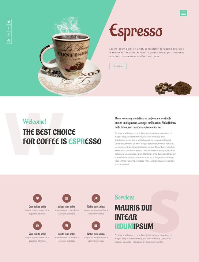 咖啡餐厅类目CSS3模板